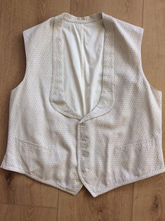 Antique 1800s Gentleman's Waistcoat + Men's Cotton