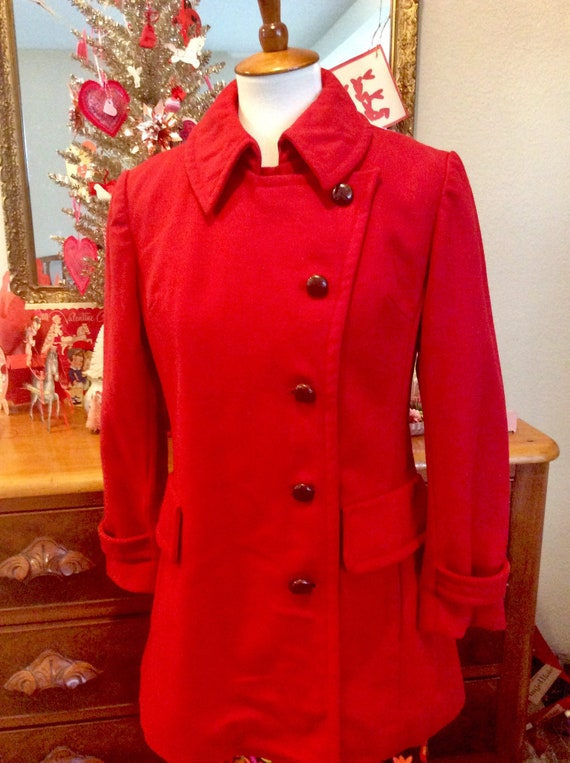 Vintage 60s Red Wool Coat + Red Peacoat + Valentin