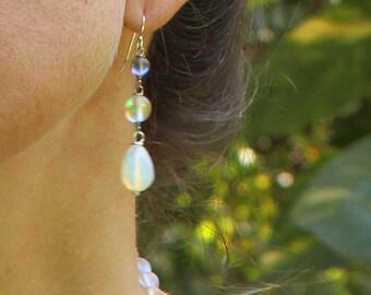 Glowing Iridescent Glass Trifecta Earrings