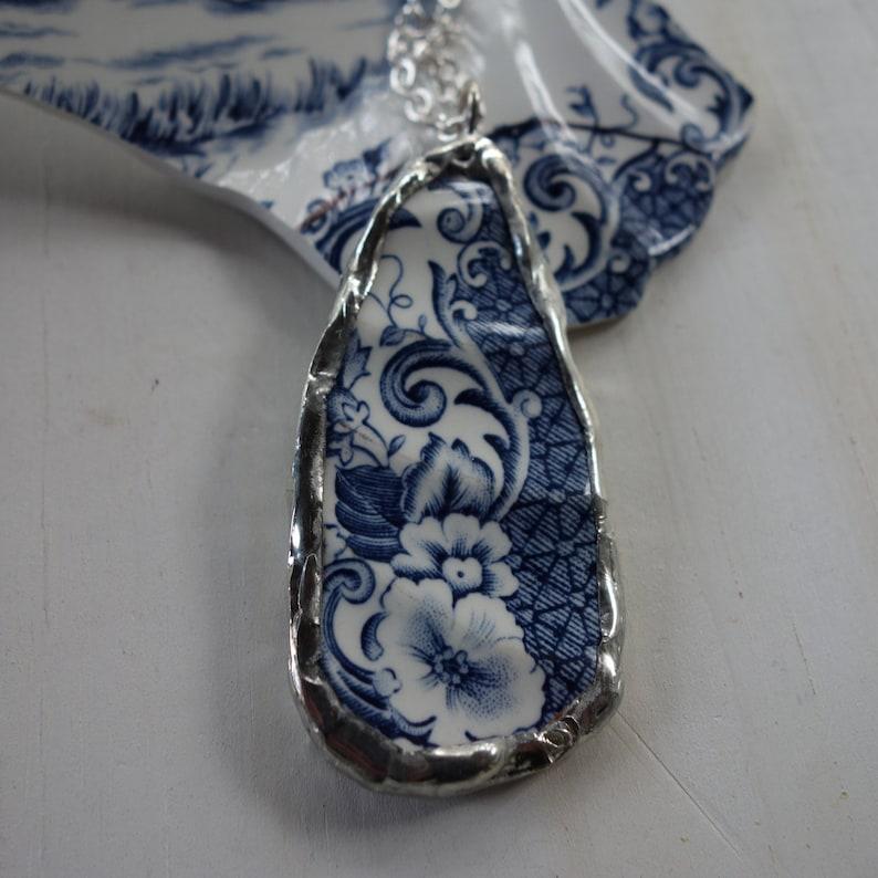 Broken China Dangle Necklace Blue