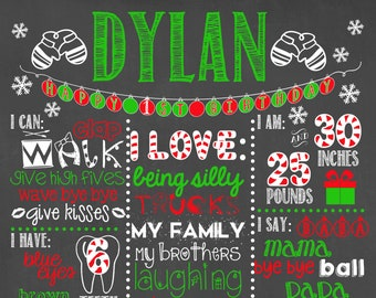 Holiday Birthday Chalkboard Sign / Christmas Birthday Chalkboard / Holiday First Birthday Chalkboard / Baby First Christmas Chalkboard Sign