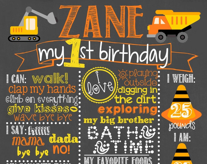 Construction Birthday Chalkboard / Construction First Birthday Chalkboard / Construction Site Birthday Chalkboard / Under Construction Zone
