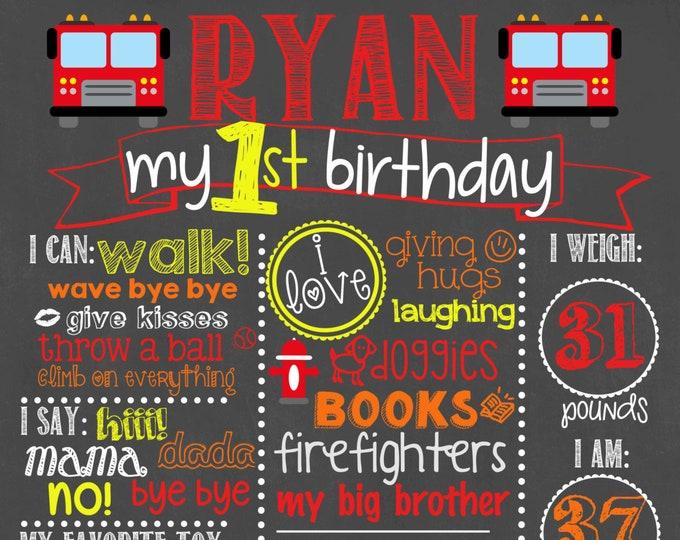 Firefighter Birthday Chalkboard / Boy First Birthday Chalkboard / Firefighter Theme Birthday Chalkboard /Boy Firefighter Birthday Chalkboard