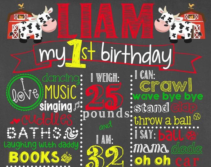 Farm Animals Birthday Chalkboard / Barnyard Birthday Chalkboard / Farm Animals Chalkboard / Farm Life Chalkboard / Horse Chalkboard /Digital