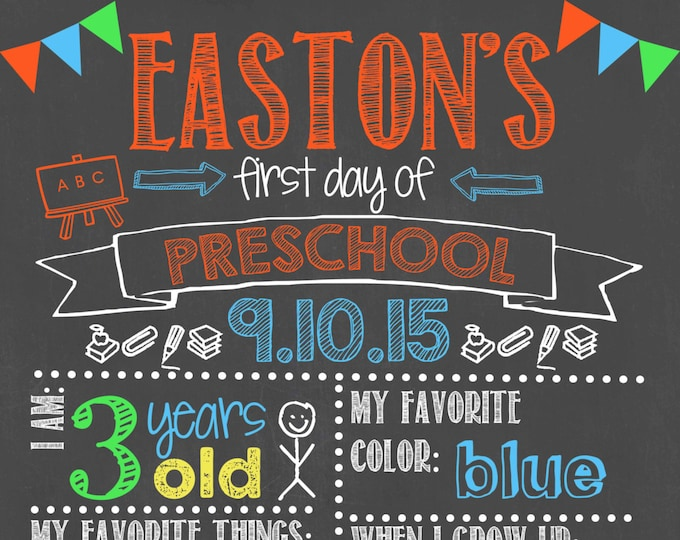 First Day of Preschool Chalkboard / First Day Chalkboard Sign /First Day of School Sign /First Day of Preschool Chalkboard Sign/Digital File