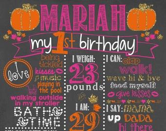 Pumpkin First Birthday Chalkboard /First Birthday Pumpkin Chalkboard /Girl First Birthday Chalkboard Sign /Pumpkin Halloween Chalkboard Sign