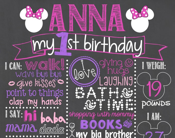 Minnie Mouse Birthday Chalkboard/Girl First Birthday Chalkboard/Minnie Mouse Chalkboard/Minnie Mouse Printable Chalkboard/Minnie Mouse