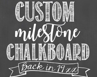 Custom Birthday Chalkboard/Custom Milestone Birthday Chalkboard/ Back In Birthday Board/Back In Fact Chalkboard/Birthday Chalkboard/Digital