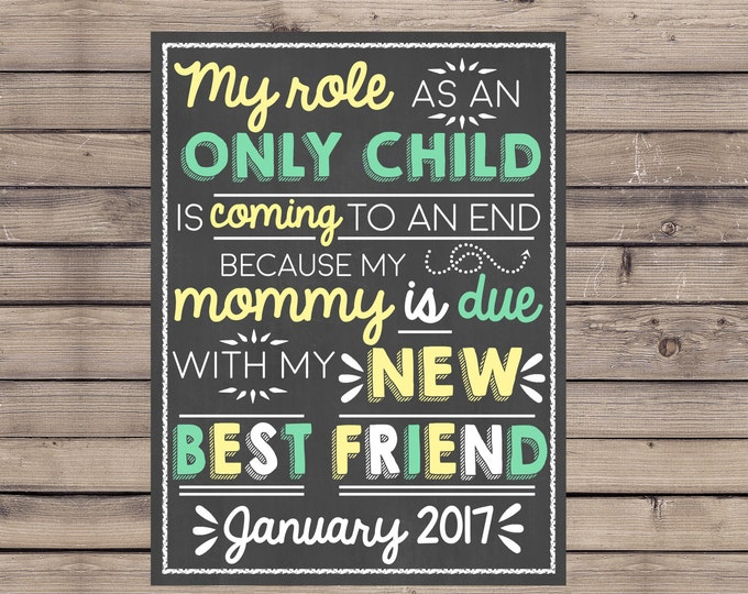 My Role As An Only Child Is Coming To An End Pregnancy Sign / Mommy Due with Baby Number Two Sign / My New Best Friend Chalkboard / Digital