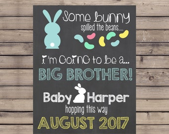 Easter Pregnancy Announcement Chalkboard / Some Bunny Spilled the Beans / Big Brother Easter Reveal / Big Brother Promotion Chalkboard