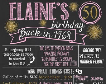 Back in 1968 Chalkboard Sign / 50th Birthday Chalkboard / Fact Birthday Chalkboard /Personalized Milestone Birthday Chalkboard /Digital File