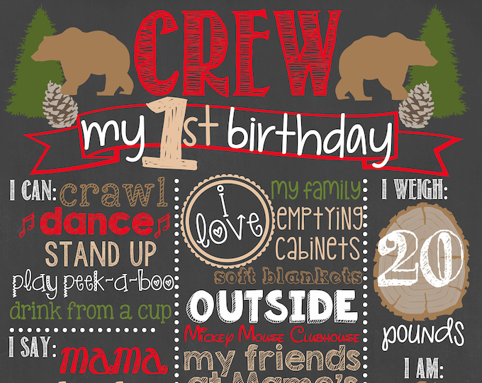 Lumberjack First Birthday Chalkboard / Woodland Birthday Chalkboard / Camper BirthdayChalkboard / Forest Birthday Chalkboard /Digital File
