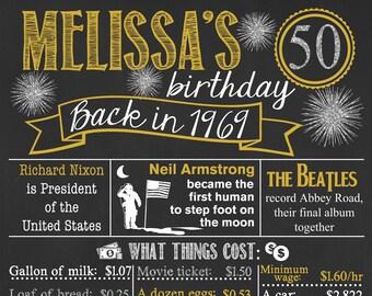 Back in 1969 Chalkboard Sign / 50th Birthday Chalkboard / Fact Birthday Chalkboard /Personalized Milestone Birthday Chalkboard /Digital File