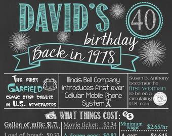 Back in 1978 Chalkboard Sign / 40th Birthday Chalkboard / Fact Birthday Chalkboard /Personalized Milestone Birthday Chalkboard /Digital File