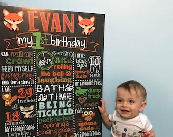 Woodland Birthday Chalkboard / Fox First Birthday Chalkboard / Boy First Birthday Chalkboard / Forest Birthday Chalkboard /Digital File Only