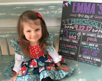 First Day of Preschool Chalkboard / First Day Chalkboard Sign /First Day of School Sign /First Day of Preschool Sign / Digital File