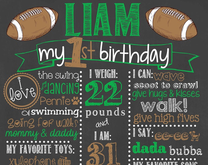 Football Birthday Chalkboard / First Birthday Football Chalkboard / Football First Birthday Chalkboard / Football Sports Theme Chalkboard