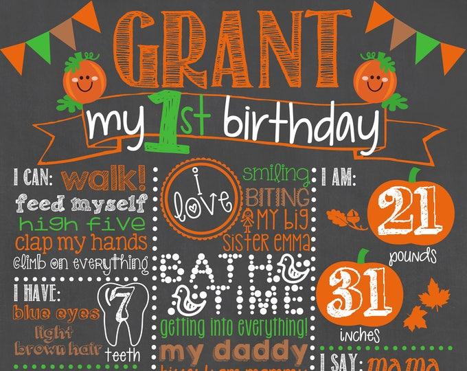 Pumpkin Birthday Chalkboard / First Birthday Pumpkin Chalkboard / Boy First Birthday Chalkboard Sign / Pumpkin Halloween Chalkboard Sign