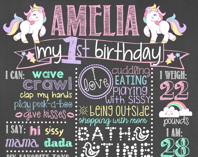 Unicorn Birthday Chalkboard / Pink Unicorn Birthday Chalkboard/ Unicorn First Birthday Chalkboard / Magical Unicorn Chalkboard / Unicorns