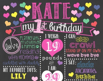 Hearts Birthday Chalkboard / Conversation Hearts Birthday Chalkboard / Valentine Birthday Chalkboard / Valentine's Day Chalkboard / Hearts