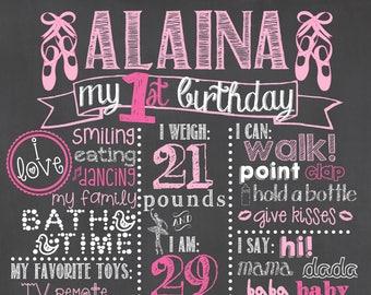 Ballerina Birthday Chalkboard / Ballerina First Birthday Chalkboard / Ballet Birthday Chalkboard / Ballerina First Birthday / Ballerina