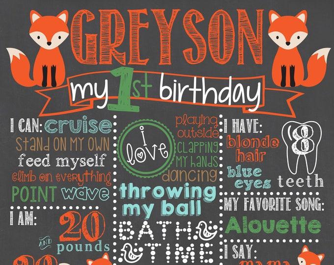 Woodland Birthday Chalkboard / Fox Birthday Chalkboard / Foxes Birthday Chalkboard / Forest Birthday / Foxes / Woodland / Digital File Only