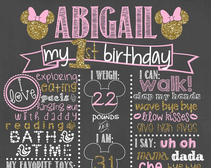 Pink and Gold Birthday Chalkboard / Minnie Mouse Birthday Chalkboard/ Minnie Mouse Chalkboard / Pink and Gold Birthday Chalkboard / Digital