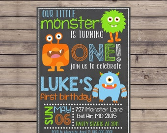 Monster Birthday Invitation / Little Monster Invite / Monster First Birthday Invite / Little Monster Invitation / Monster Birthday Invite