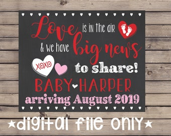 Valentine's Day Pregnancy Announcement/ Valentine Pregnancy Reveal/ Love is in the Air Sign/ Valentine Pregnancy Sign/ Valentine Chalkboard