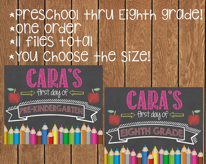 First Day of School Chalkboard / First Day of School Bundle / First Day of School Chalkboard Signs / Printable First Day of School Signs