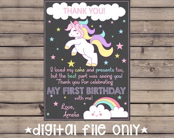 Unicorn Birthday Thank You Note / Unicorn Birthday Thank You Card/ Unicorn Chalkboard Thank You / Unicorn Chalkboard / Magical Unicorn