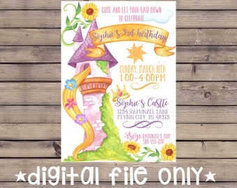 Rapunzel Invitation / Tangled Birthday Invitation / Rapunzel Birthday / Tangled Invite / Rapunzel Birthday Invitation / Digital File Only
