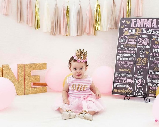 Pink and Gold Chalkboard / Pink and Gold Hearts Chalkboard/ Girl First Birthday Chalkboard/ Pink and Gold Chalkboard / Digital file only*