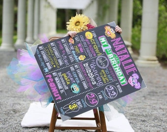 Sesame Street Birthday Chalkboard / Sesame Street First Birthday Chalkboard / Sesame Street Girl Birthday / Sesame Street /Digital File Only