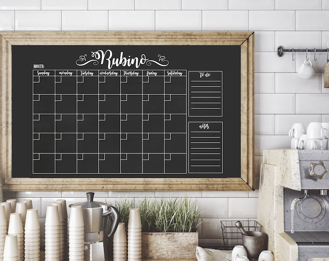 Personalized Chalkboard Wall Calendar / Family Chalkboard Calendar / Printable Chalkboard Calendar / Chalk Wall Calendar / Digital File Only
