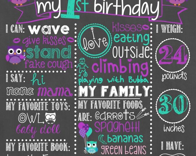 Owl Birthday Chalkboard / Girl First Birthday Chalkboard / Owl Theme Chalkboard / Owl Girl First Birthday Chalkboard / Owls / Digital File