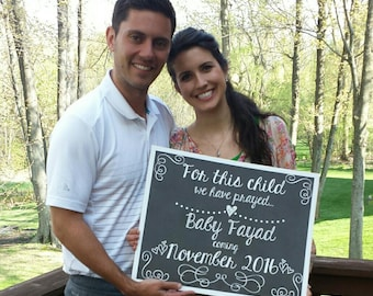 For This Child We Have Prayed Pregnancy Chalkboard / Pregnancy Reveal Chalkboard Sign / Expecting Chalkboard Sign / Pregnancy Reveal Sign