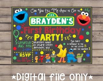 Sesame Street Invitation Birthday Chalkboard Invite