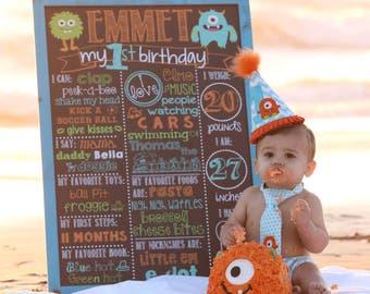 Little Monster Birthday Chalkboard / Monsters Birthday Chalkboard / Little Monsters Birthday Chalkboard /Monster Birthday Chalkboard/Digital