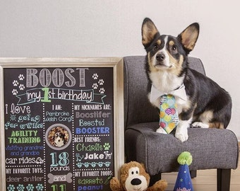 Animal Birthday Chalkboard / Pet Birthday Chalkboard / Dog Birthday Chalkboard / Cat Birthday Chalkboard / Printable Pet Birthday Chalkboard