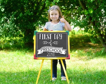 First Day of School Chalkboard / First Day of Preschool / First Day of School Chalkboard Sign / Instant Download / Printable School Sign