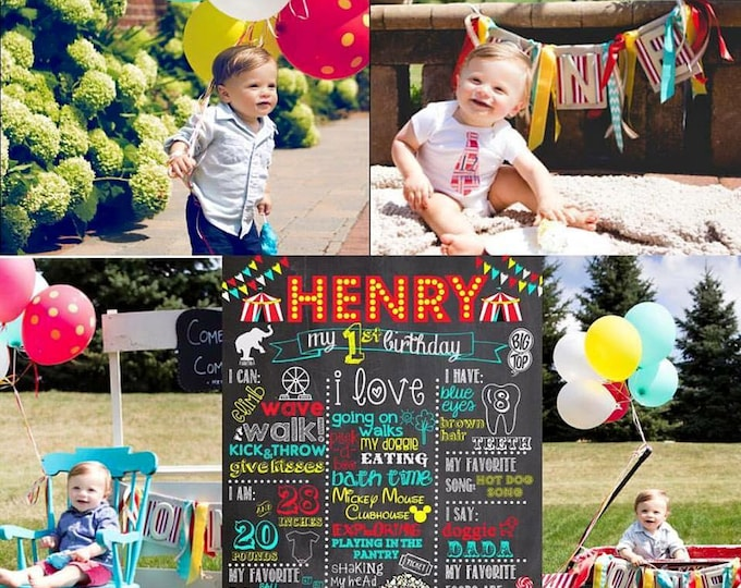 Carnival First Birthday Chalkboard / Circus First Birthday Chalkboard / Circus Birthday Chalkboard / Carnival Birthday Chalkboard / Digital