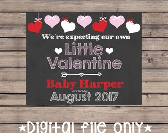 Valentine's Day Baby Announcement/Valentine's Day Pregnancy Reveal/Valentine Baby/Little Valentine Expecting Sign/Valentine Chalkboard