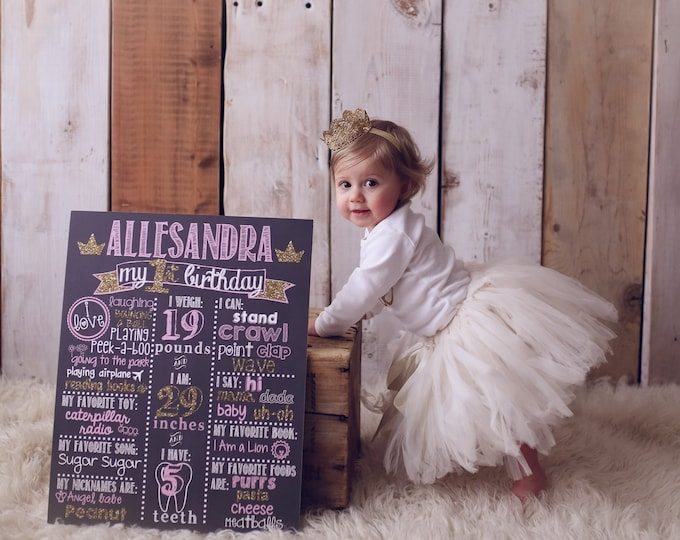 Pink and Gold Birthday Chalkboard / Pink and Gold Princess Chalkboard/ Pink and Gold First Birthday Chalkboard /Princess Birthday Chalkboard