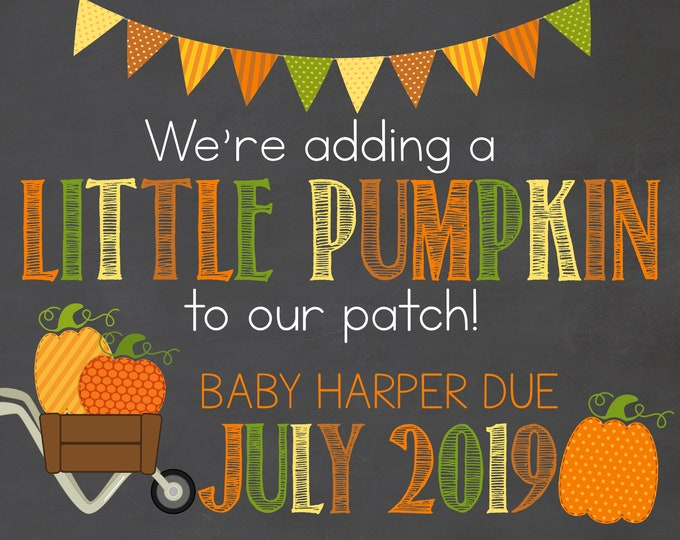 Fall Pregnancy Announcement / Little Pumpkin Pregnancy Announcement / Halloween Pregnancy Announcement /Adding to our Patch / Little Pumpkin