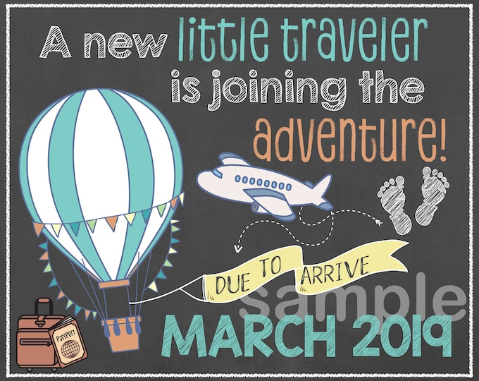 Little Traveler Pregnancy Announcement / Traveler Pregnancy Announcement / New Adventure Pregnancy Announcement / Custom Pregnancy Sign