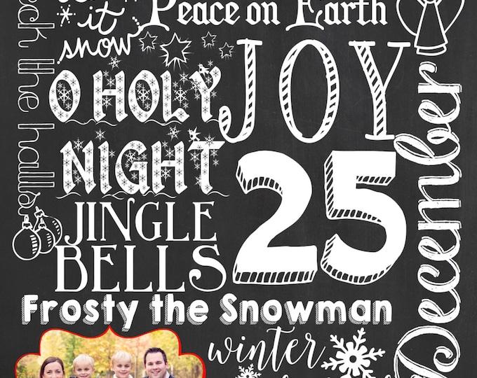 Printable Photo Christmas Card / Holiday Card / Chalkboard Holiday Christmas Card / Custom Holiday Chalkboard Card / Christmas Chalkboard