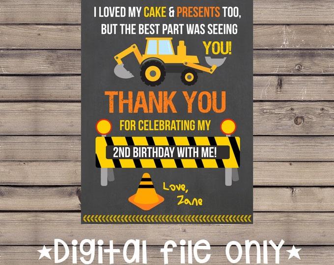 Construction Birthday Thank You / Construction Site Thank You / Construction Thank You card / Construction Site Birthday Thank You / Digital