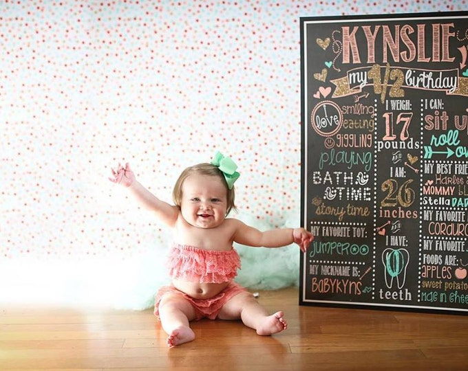 Pink Gold and Mint Birthday Chalkboard / Pink and Gold Birthday Chalkboard/ Half Birthday Chalkboard/ Six Month Birthday Board /Digital File
