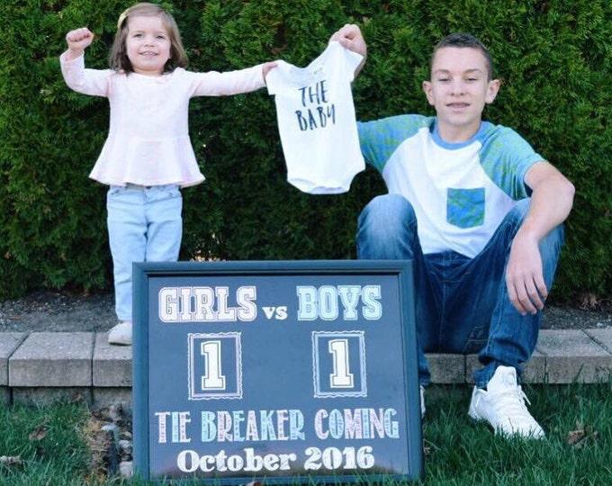 Tie Breaker Pregnancy Announcement / Tie Breaker Baby Announcement Sign/ Tie Breaker Pregnancy Sign / Boys vs Girls Prop / Digital File